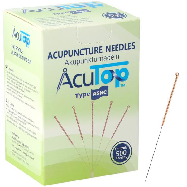 Akupunkturnadeln AcuTop® A5NC Type, mit Kupferwendelgriff, unbeschichtet, mit Führrohr, 500 St.
