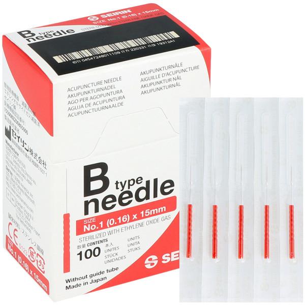 Akupunkturnadel Seirin Typ B, mit Kunsstoffgriff, silikonbeschichtet, ohne Führrohr, 100 St.