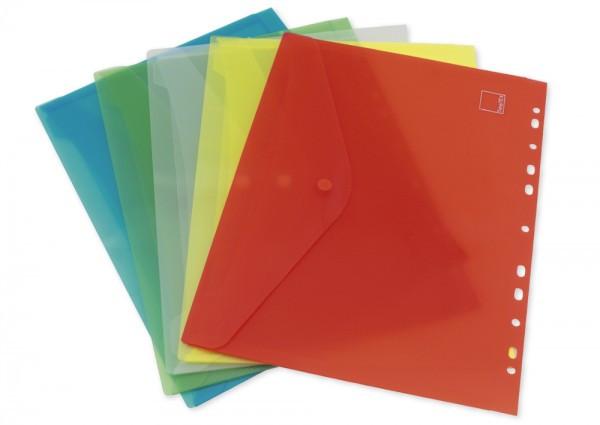 5x Dokumentenmappe DIN A4, verschließbar, abheftbar, 5-tlg., farbsortiert, im Set