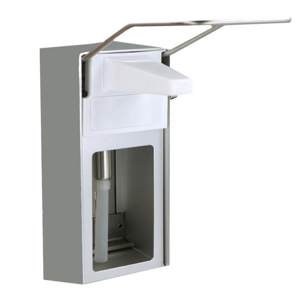 Aluminium-Desinfektionsmittelspender Armhebel lang, 500 ml, ca. L 8,3 x H 24,2 x B 8,2 cm