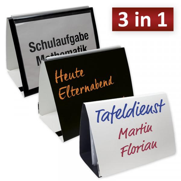 Mobiles Whiteboard DIN A4, Tisch-Flipchart, Mini-Tafel ca. 33 x 25 cm + 20 Klarsichthüllen