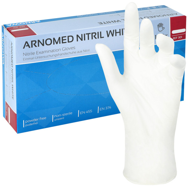Nitril- Untersuchungshandschuhe ARNOMED - weiß, unsteril, puderfrei, latexfrei