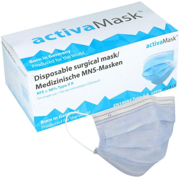 activaMask (MNS-Masken) 3-lagig blau/weiß, Nasenbügel, EN14683:2019, Typ IIR, latexfrei, glasfaserfr