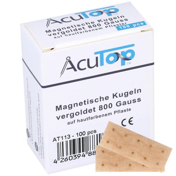 AcuTop® Magnetische Ohrkugeln zur naturheilkundlichen Magnettherapie, vergoldet, 800 Gauss , 100 Stü