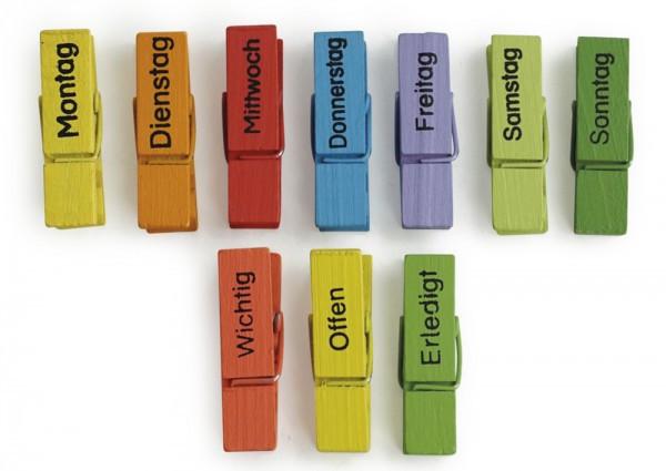 TimeTEX Wochentags-Klammern 10-tlg., farbig, mit Magnet