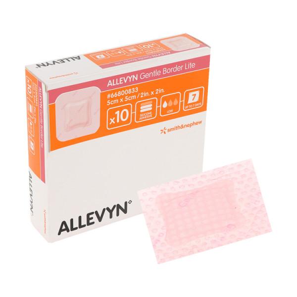 ALLEVYN Gentle Border Lite, sanft haftender, antimikrobieller, extra dünner Schaumverband