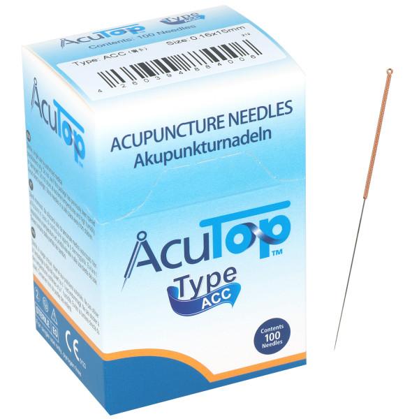 Akupunkturnadeln AcuTop® ACC Type, mit Kupferwendelgriff, silikonisiert, ohne Führrohr, 100 St.