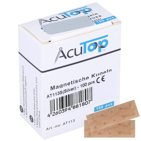 AcuTop® Magnetische Ohrkugeln zur naturheilkundlichen Magnettherapie, versilbert, 800 Gauss , 100 St