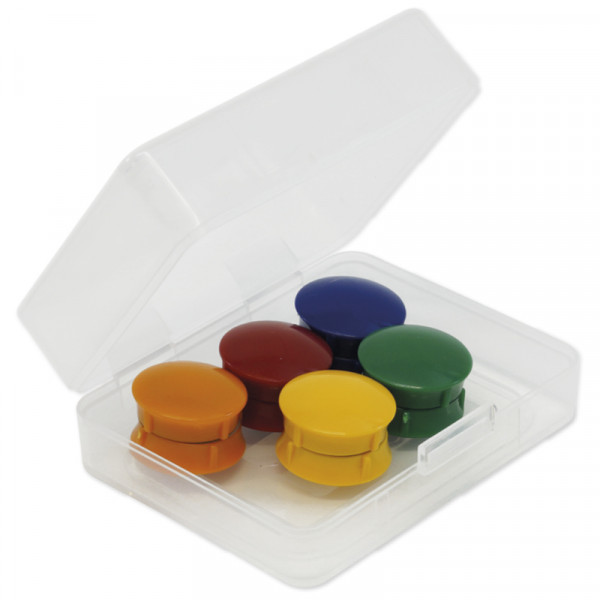 10-teiligesHaft-Magnete-Set, gut greifbar, Durchmesser 21 mm, in Aufbewahrungsbox