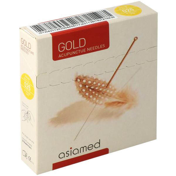 asiamed Akupunkturnadeln, Typ Gold, mit Kupferwendelgriff, komplett vergoldet, ohne Führrohr, 50 St.