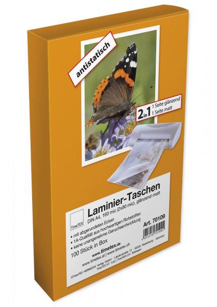 Laminier-Taschen/Heißlaminierfolien 2in1, Ecken gerundet, A4 2x80 mic glänzend-matt, 100 Stück