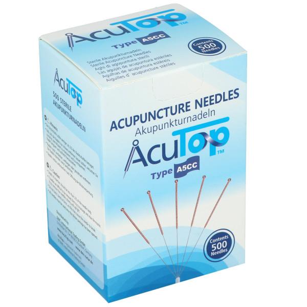 Akupunkturnadeln AcuTop® A5CC Type, mit Kupferwendelgriff, silikonisiert, mit Führrohr, 500 St.
